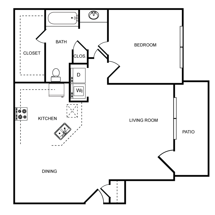 771 sq. ft. B floor plan