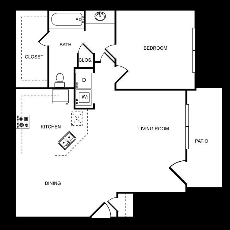 771 sq. ft. B floor plan