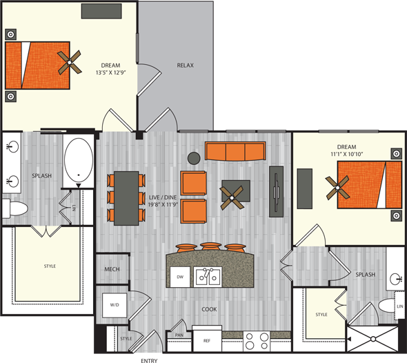 1,071 sq. ft. B2.1 floor plan
