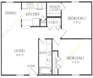 871 sq. ft. M&N floor plan