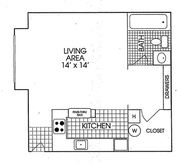 415 sq. ft. floor plan