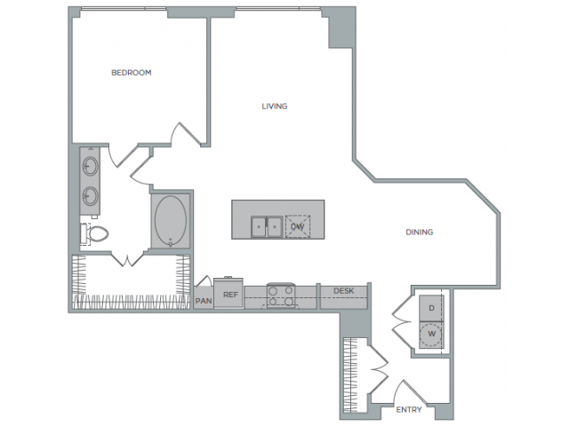 958 sq. ft. 1Q floor plan