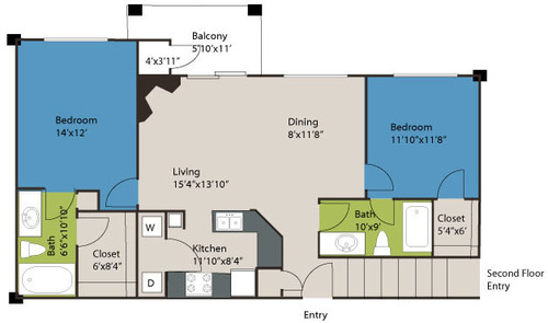 1,083 sq. ft. B2 floor plan