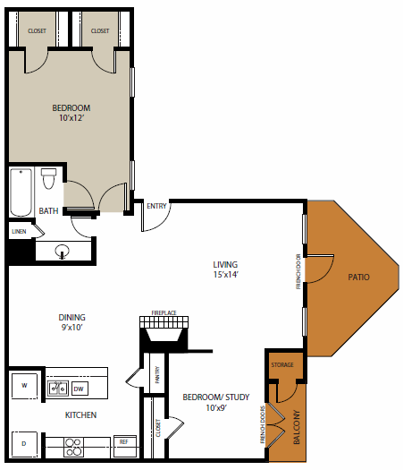 876 sq. ft. Lakewood floor plan