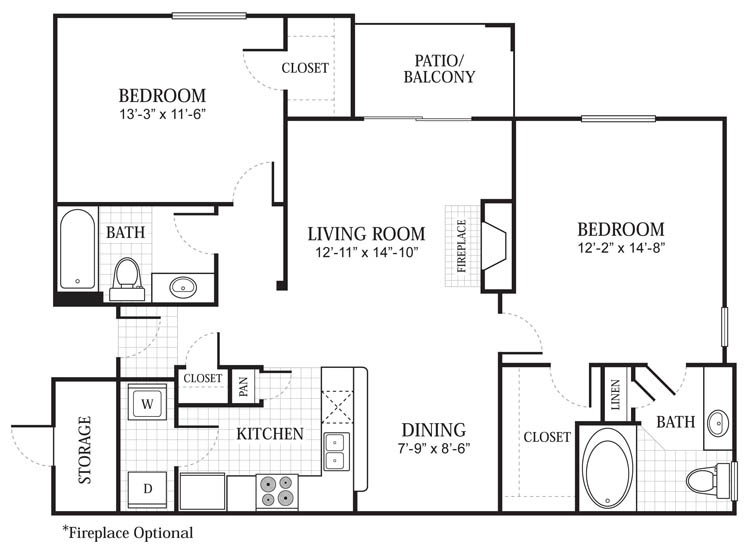 1,101 sq. ft. B2 floor plan