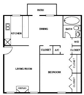 770 sq. ft. 50% floor plan