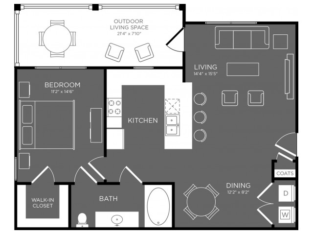 804 sq. ft. Biscayne floor plan