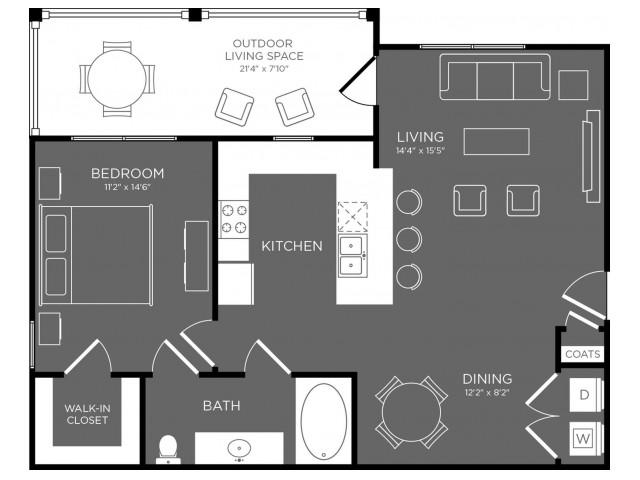 804 sq. ft. Biscayne floor plan