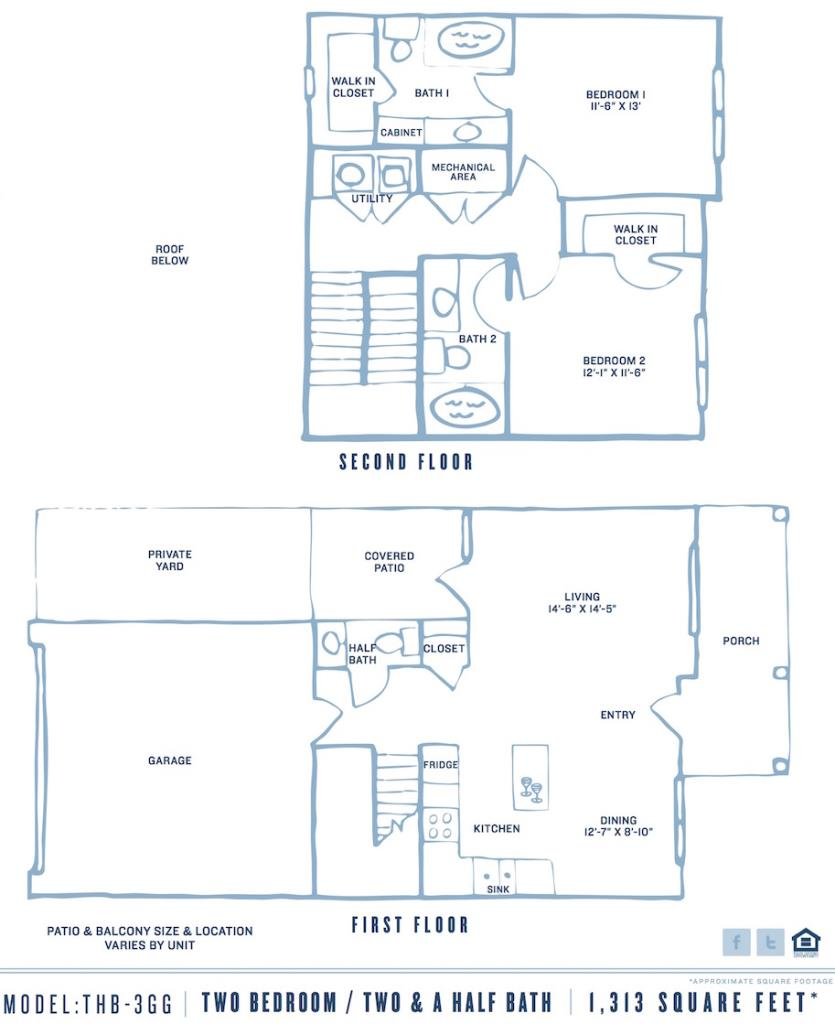 1,313 sq. ft. Pgthb3gb floor plan