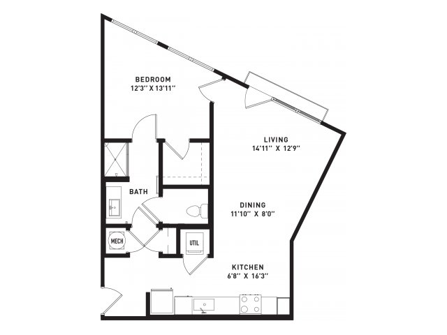 716 sq. ft. A6Alt floor plan