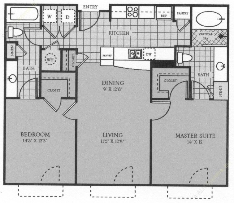 1,053 sq. ft. to 1,217 sq. ft. St Laurent floor plan