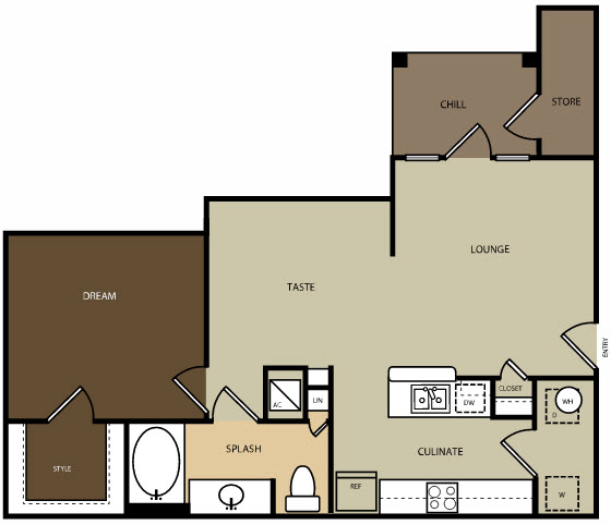 840 sq. ft. A4H floor plan