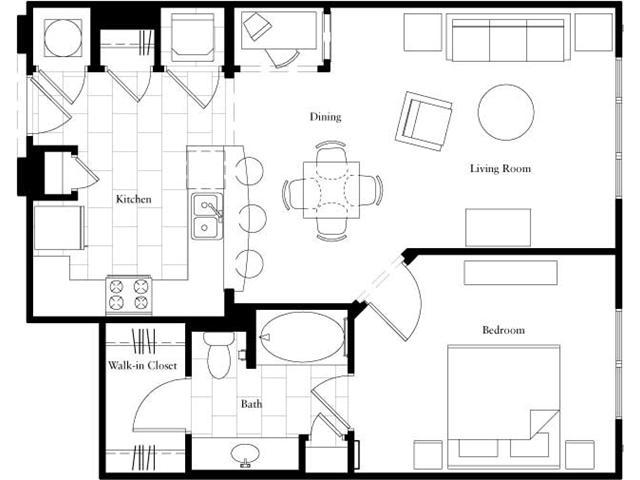 788 sq. ft. floor plan