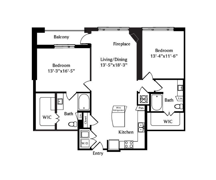 1,326 sq. ft. B2 floor plan