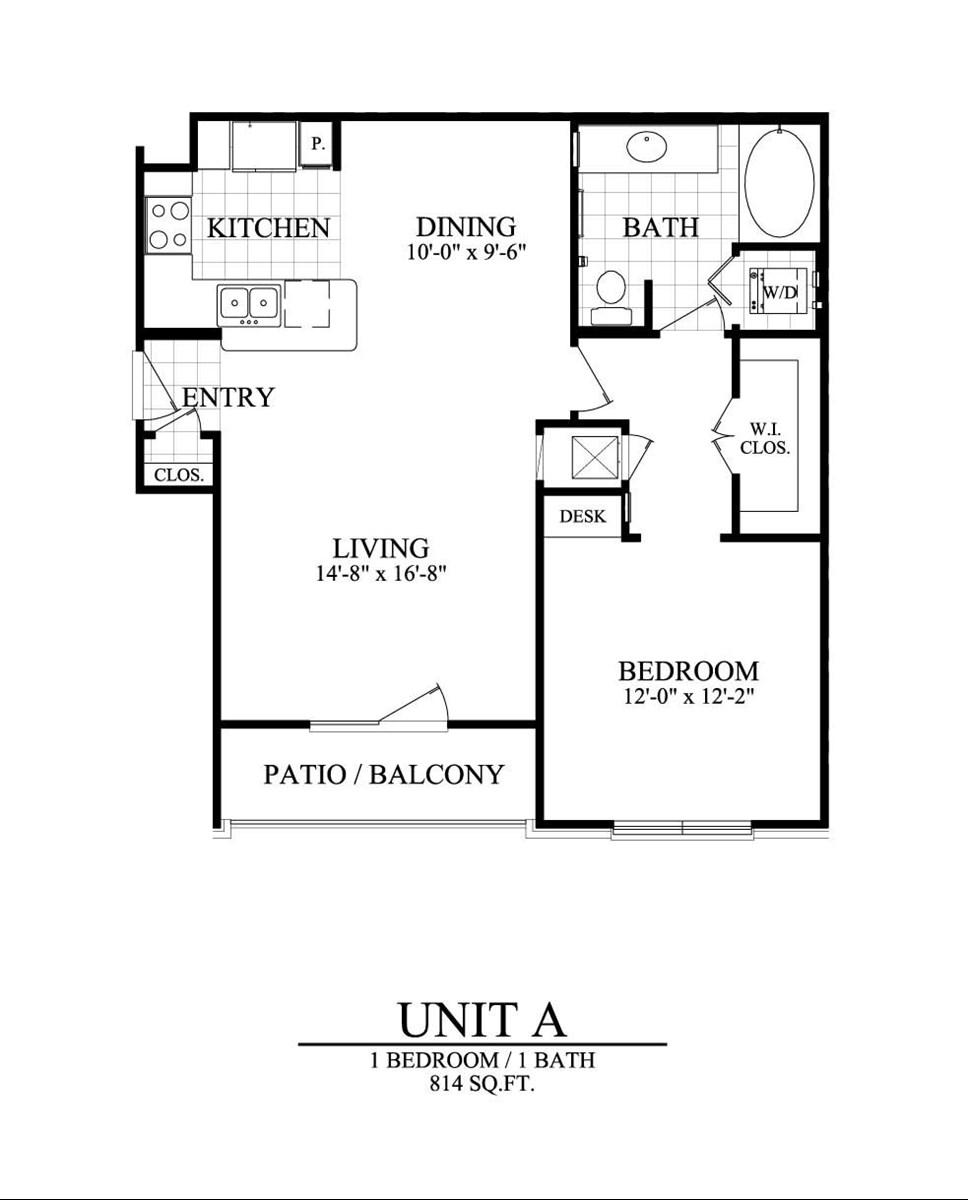 814 sq. ft. A floor plan