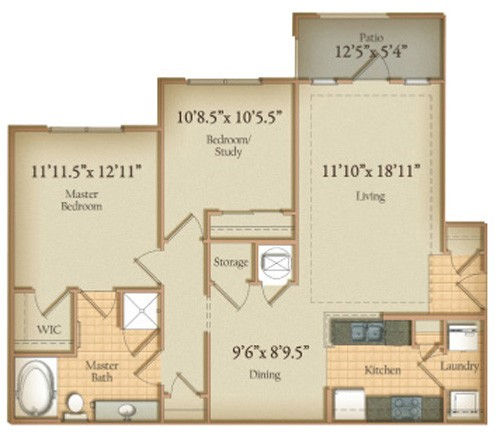 1,082 sq. ft. BuckHead floor plan