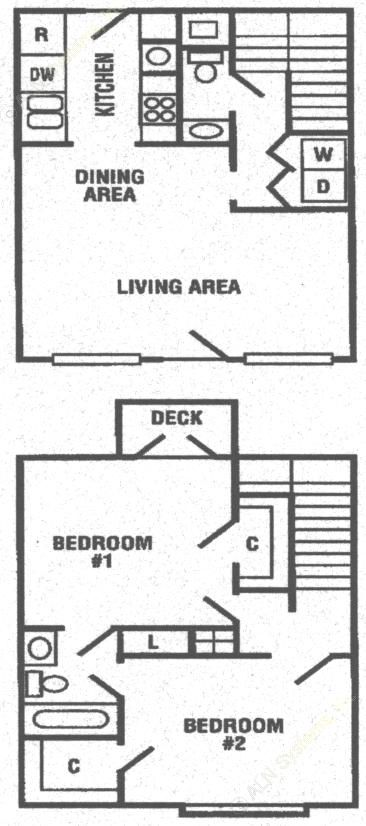 912 sq. ft. B2 floor plan