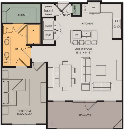 823 sq. ft. Horizon III floor plan