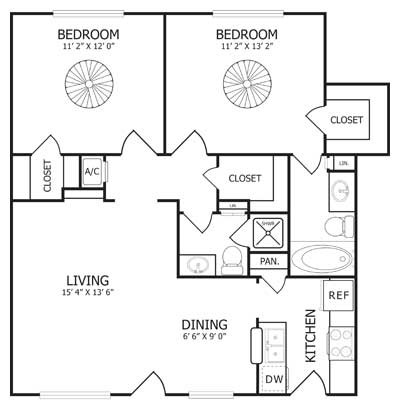950 sq. ft. B2 floor plan