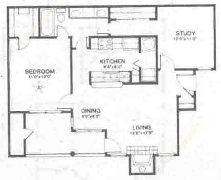803 sq. ft. B1 floor plan