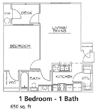 650 sq. ft. 60% floor plan