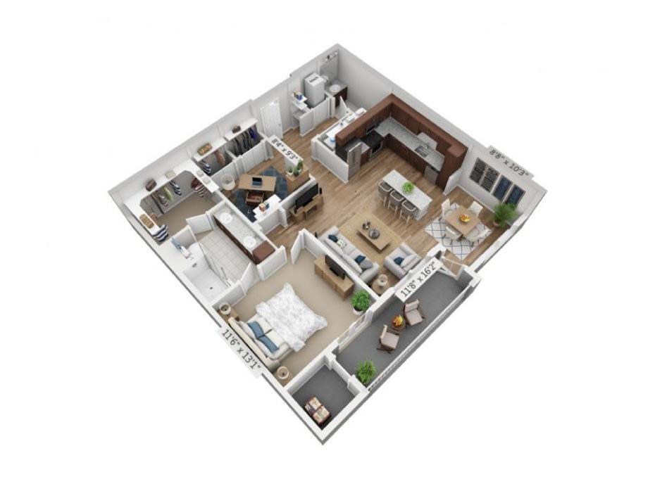 990 sq. ft. A4 floor plan
