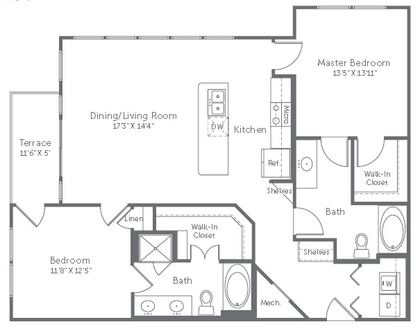 1,202 sq. ft. B4 floor plan