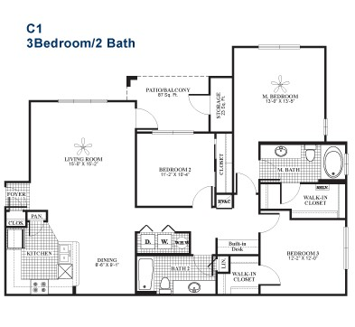 1,388 sq. ft. C1 floor plan