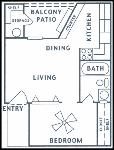 408 sq. ft. floor plan
