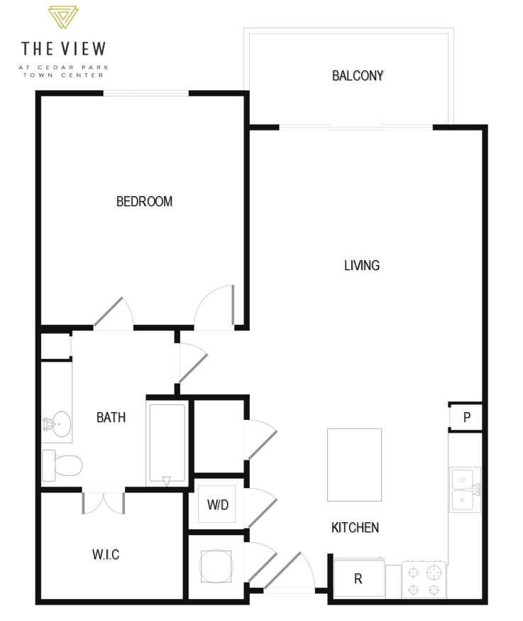 775 sq. ft. A2 floor plan
