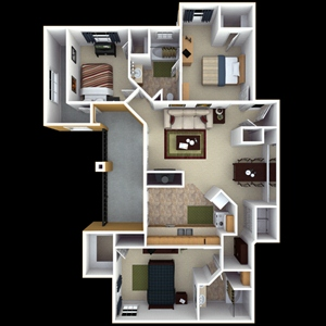 1,328 sq. ft. D2 floor plan