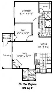 891 sq. ft. to 902 sq. ft. B3 floor plan