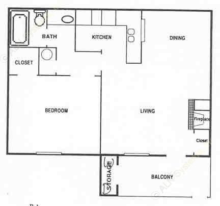 640 sq. ft. A2 floor plan