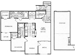 1,231 sq. ft. B3SG floor plan