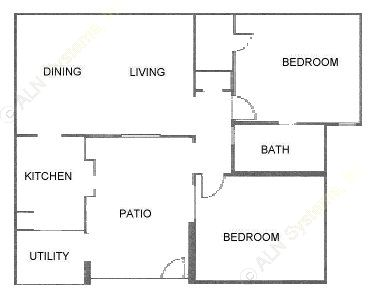 909 sq. ft. B floor plan