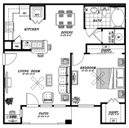 823 sq. ft. A5 floor plan