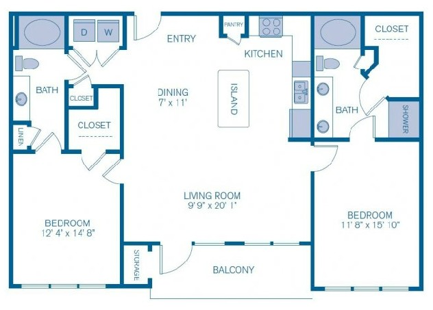 1,203 sq. ft. to 1,474 sq. ft. C2 floor plan