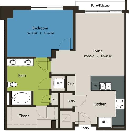 875 sq. ft. A8G-L1 floor plan
