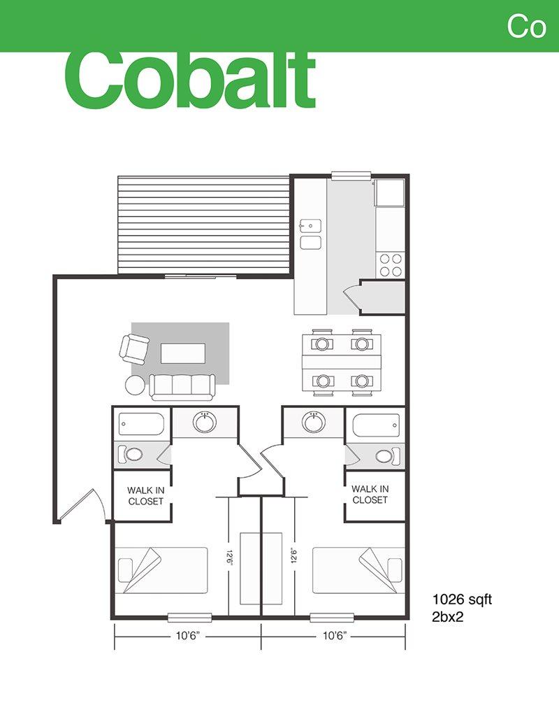1,026 sq. ft. Cobalt floor plan