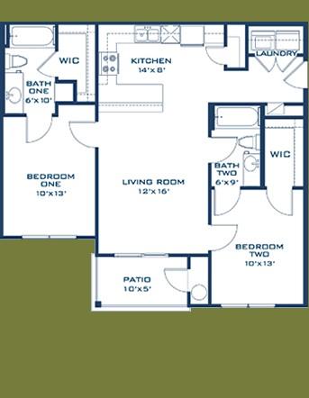 892 sq. ft. Llano floor plan