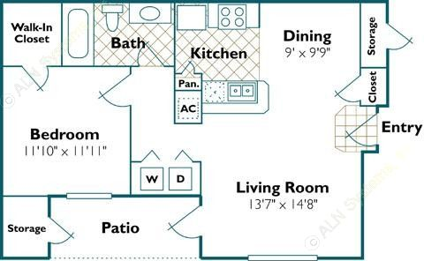 675 sq. ft. Pelican floor plan