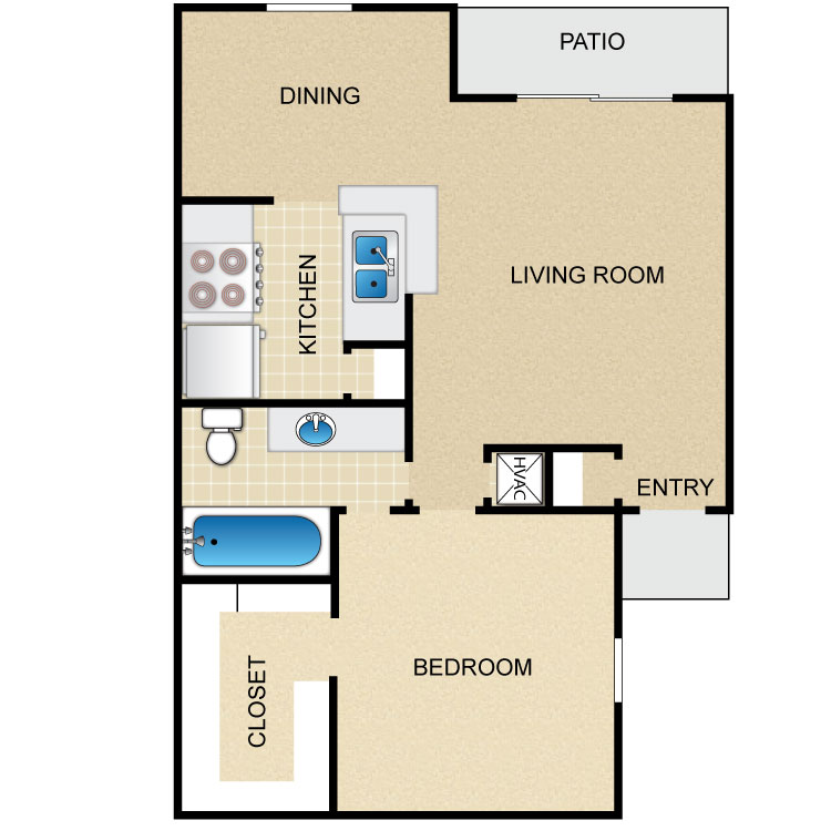 648 sq. ft. floor plan