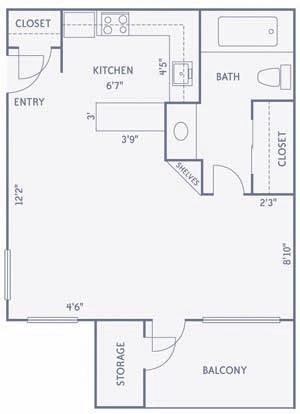 416 sq. ft. E1 floor plan