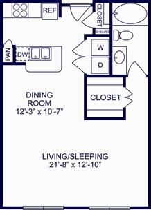 685 sq. ft. Amsterdam floor plan