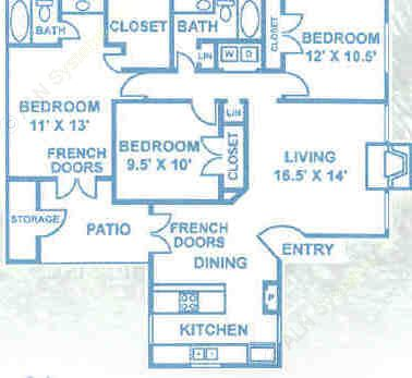 1,177 sq. ft. C1 floor plan