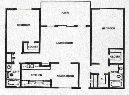 1,154 sq. ft. H floor plan