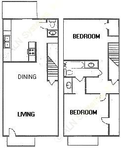 1,133 sq. ft. floor plan