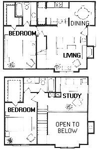 1,229 sq. ft. Escalade floor plan
