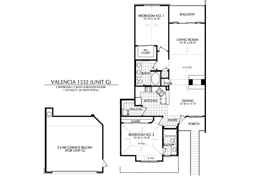 1,332 sq. ft. G floor plan