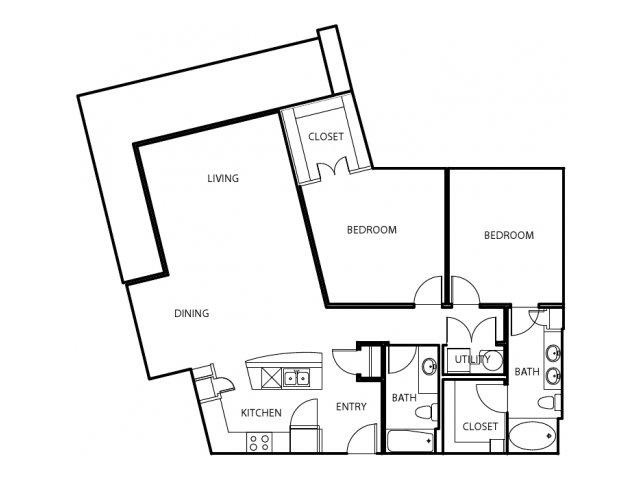 1,316 sq. ft. B6-E floor plan